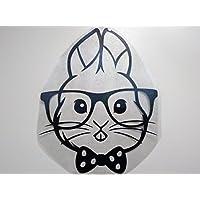 Bügelbild, Motiv: Hase mit Brille, Farbe: schwarz, Größe: 10x13cm, heißsiegelfähige Flockfolie auf Basis von Viskosefasern