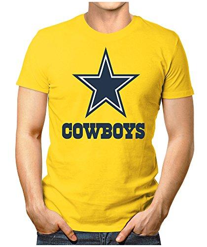 PRILANO Herren Fun T-Shirt - DALLAS-COWBOYS - 5XL - Gelb (Cowboy-kleidung Dallas)