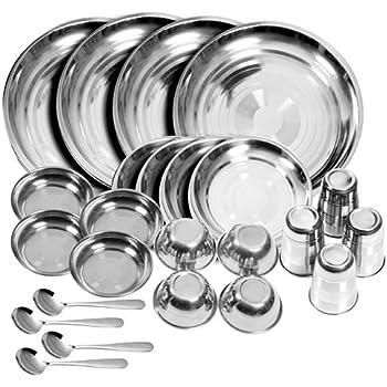 Buy Tulsi Stainless Steel Dinner Set Set Of 24 Glass