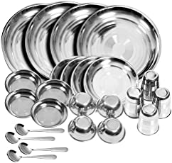 Tulsi Stainless steel Dinner Set (Set of 24)(Glass, Curry Bowl, Desert bowl, Spoon, Quater Plate and Full Plate),Silver