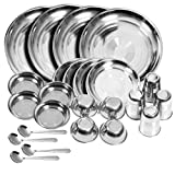 #6: Tulsi Stainless steel Dinner Set (Set of 24)(Glass, Curry Bowl, Desert bowl, Spoon, Quater Plate and Full Plate),Silver