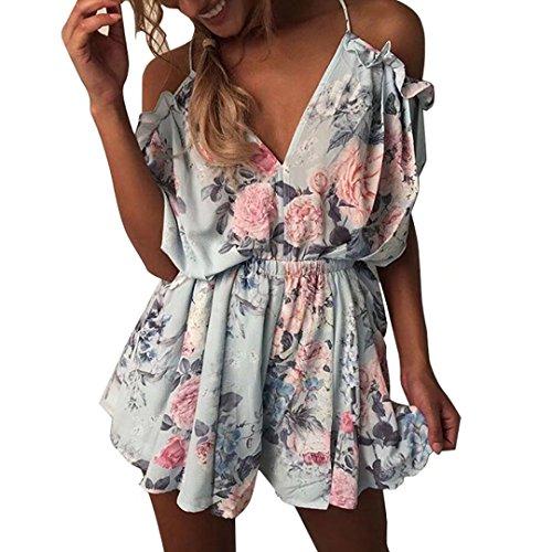 Yieune Jumpsuit-Kleid Damen Sommer Playsuit Lose Kurz Strand Blumenmuster Sommerkleid Aqua Trägerlos Ärmellos Overall Spielanzug