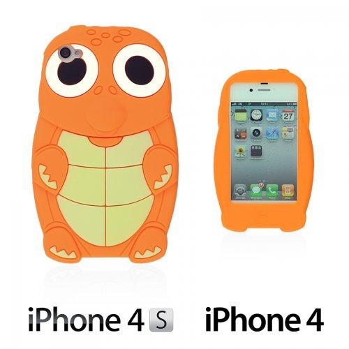 OBiDi - 3D Tortue Coque en Silicone / Housse pour Apple iPhone 4S / Apple iPhone 4 - Jaune avec 3 Film de Protection et Stylet Orange