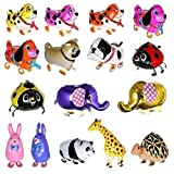 Treasure-House 10 set Walking Animal farm Balloon Happy Birthday Party Mylar Foil Helium Reusable Ballons Cute Cat Dog Rabbit Panda Dinosaur Tiger Balloons Pet Balls Party Birthday Decoration