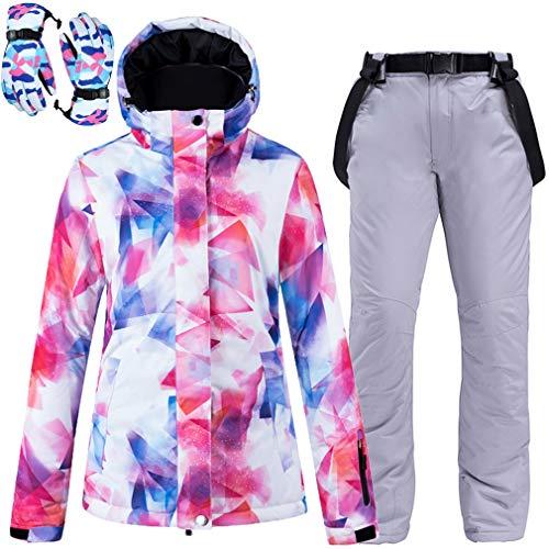 Trajes de esquí para mujeres, chaquetas y pantalones impermeables y resistentes al viento y trajes de nieve, incluidos guantes, esquí, snowboard, montañismo, montañismo, senderismo, camping,Plata,S