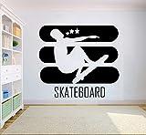 yaoxingfu Skateboard Tatuajes de Pared Deporte Extremo Logo Arte de la Pared Mural Decoración del hogar Interior Artículos para el hogar Diseño de Pared de Vinilo Deportivo Pegatinas Ay 57x51cm