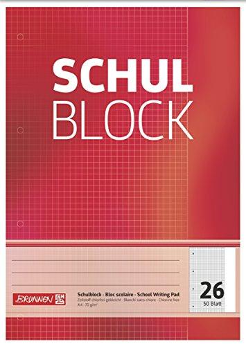 Brunnen 1052526 Schulblock/Notizblock (A4, 50 Blatt, kariert, mit Rand, Lineatur 26, gelocht, kopfverleimt, 70 g/m²)