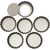 webake 4 Zoll Mini Quiche Dosen mit Losen Base Non Stick Quiche Tart Pfannen, Hebebasis aus Stahl in Silber Farbe, Antihaftbeschichtung - Set von 6, 10cm