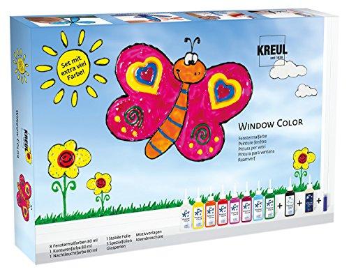 fenstermalfarben Kreul 42752 - Glas Design Fenstermalfarben Set, Window Color mit extra viel Farbe
