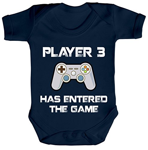 ShirtStreet Vatertag Gamer Geek Nerd Strampler Bio Baumwoll Baby Body kurzarm Player 3 has entered the Game, Größe: 0-3 Monate,Nautical Navy