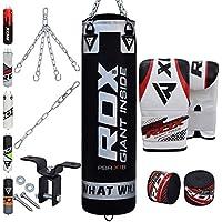 RDX Boxsack Set Gefüllt Kickboxen MMA Muay Thai Boxen mit Deckenhalterung Stahlkette Training Kampfsport Handschuhe Schwer Punchingsack gewicht 4FT 5FT Punching Bag