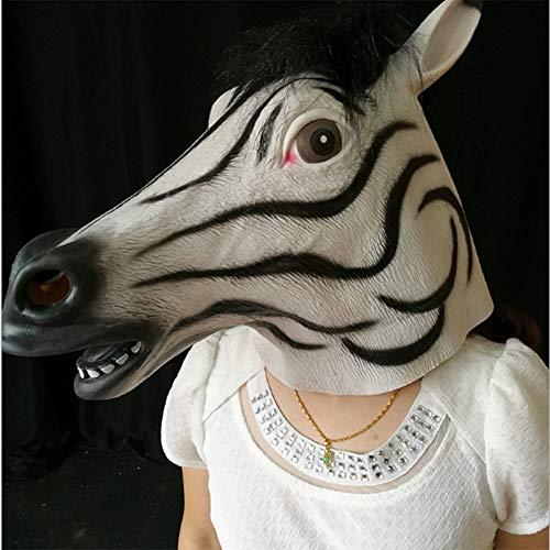 Für Zwei Kostüm Personen Pferd - Pferdekopfmaske, Latexmaske - 4 Stile - Zebra, Dunkles Pferd, dunkelbraunes Pferd, Einhorn - Luxusneuheit Halloween-Kostüm - passend für Halloween, Weihnachten, Ostern, Karneval, Kostümparty (Zebra)