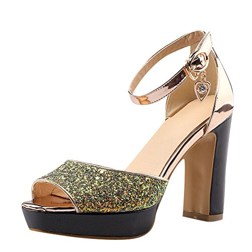 Mee Shoes Damen Peep toe Blockabsatz Pailletten Sandalen