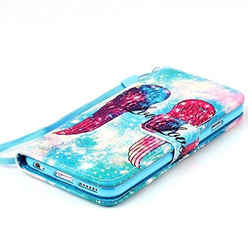 Copertura per iphone 6 Plus in pelle, iphone 6S Plus Custodia Portafoglio, iphone 6 5.5 Case Cover , Ukayfe rosa-Dandelion Dreaming Design dellunità di elaborazione di vibrazione del cuoio di protez blu-Lampeggia nel cielo notturno e ali dangelo