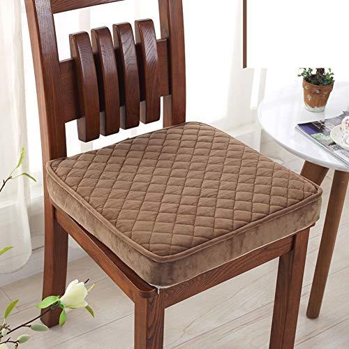 WJX&Likerr Elastische Schwamm Dick Sitzkissen Office Stuhlkissen Plüsch Warme Stuhl-pad Car seat Kissen Home Bodenkissen Speisesaal Stuhl Kissen-braun 45x45x8cm(18x18x3inch) - Modernen Speisesaal Möbel
