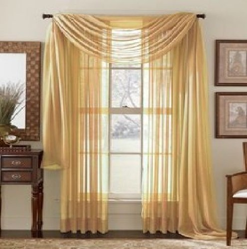 Elegant Comfort 2-Piece SHEER PANEL with 2inch ROD POCKET - Window Curtains 60-inch width X 84-inch Length - Gold by Elegant Comfort -