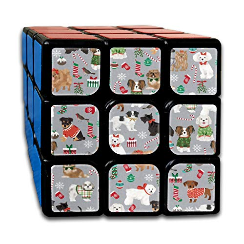 Christmas Dogs Cute Toy Breed Dogs Peppermint Stick Cute Toy Breeds Toy Poodle Maltese Shih Tzu Scottie Dog Cute Dogs Christmas Magic Speed Cubes Sets 3x3x3 Puzzles Toys Solid & Durable (56mm)