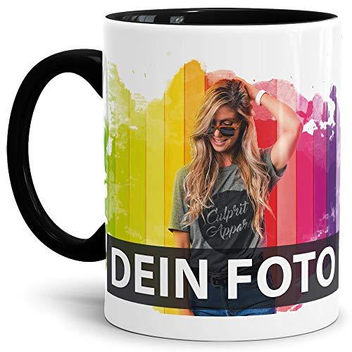Tasse selbst individuell gestalten/Personalisierbar mit eigenem Foto Bedrucken/Fototasse/Motivtasse/Werbetasse/Firmentasse mit Logo/Innen & Henkel Schwarz