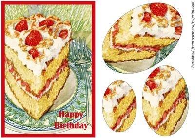 Vintage Fragola torta ovale Piramide by apetroae Stefan - Fragola Piramide