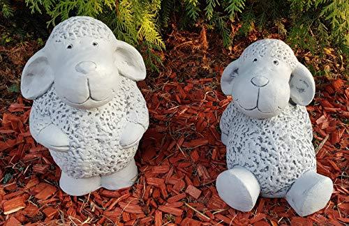 HQ-Beton Manufaktur Niedliche Schafe im Set groß frostfest handbemalt Gartenfiguren als Deko für außen Garten Terassen Gartendeko Steinfiguren