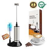 Edelstahl Elektrisch Milchaufschäumer mit Doppeltem-Quirl, BüRstenkopf und Batteriebetriebener für Kaffee, Latte, Cappuccino, Schokolade