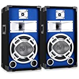 Paar 25cm PA-Lautsprecher Lichteffekt blau 2x400W Boxen