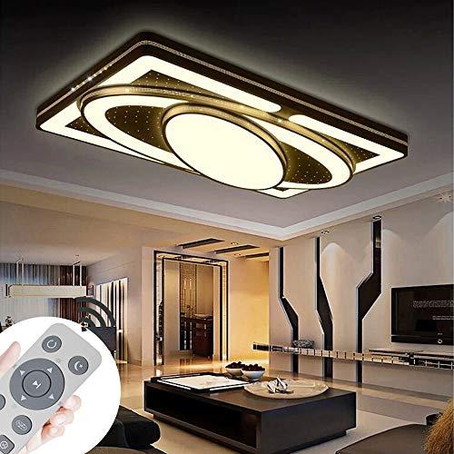 Deckenlampe LED Deckenleuchte 90W Wohnzimmer Lampe Modern Deckenleuchten Kueche Badezimmer Flur Schlafzimmer (Schwarz, 90W-Dimmbar) - 90w Led