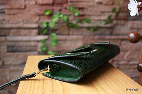 lpkone-Sac d'embrayage rétro baodan fashion sac de banlieue en relief sac de messager d'épaule est d'environ de large au fond 31cm, largeur 27cm, poche 15cm de haut, 6cm Green goods
