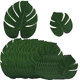 24 Stk. künstlich tropische Blätter (12 stk 35*29 cm + 12 stk 20*18 cm) gefälschte Palmblatt Palme monstera Deko für Hawaii Luau Jungle Beach Theme Party Dekorationen
