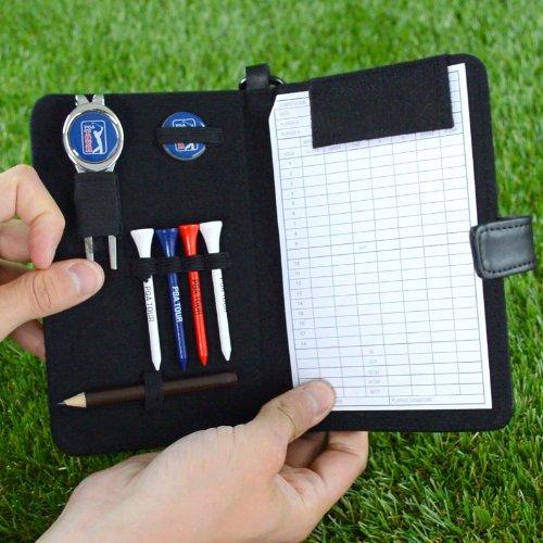 PGA TOUR Score Karte und Zubehörtasche aus echtem Leder , schwarz - 7