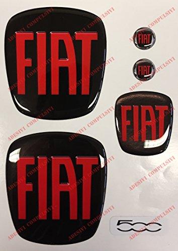 Logo Fiat 500avant, arrière + Volant + 2blason pour porte-clés. Pour Capot et coffre. Autocollants, Résine Effet 3d. Sculptures couleur nero-rosso