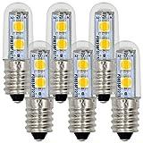 MENGS® 6 Stück E14 LED lampe Leuchtmittel & Birne 1W (100LM - Warmweiß 3500K - 120º Abstrahlwinkel - AC 220V - 7x5050 SMD LEDs - Ø15×48mm) Energiespar licht