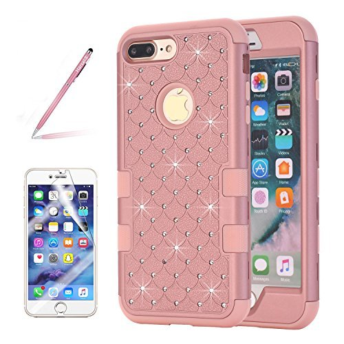 Harsel iPhone 7Plus Bling Fall, [Stoßdämpfung] Ultra Slim Fit Nieten Strass Bling Glitzer High Impact Resistant Rugged Hybrid Armor Defender Schutzhülle für iPhone 7Plus, Rose Gold - T-mobile Iphone