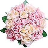 Pauwer Fleurs de Roses Artificielles 2 pièces18 Têtes de Faux Bouquet de Roses en Soie Bouquet de Mariage Fête de Mariage Maison Jardin Bricolage Décoration ,Rose...