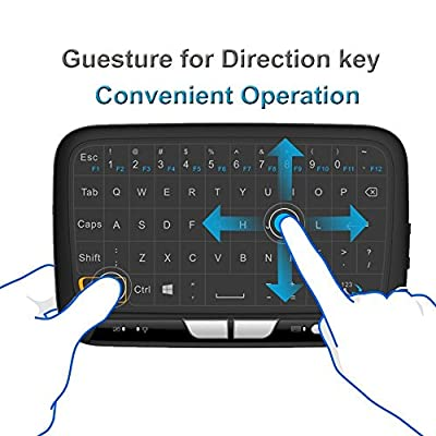 Full Touchpad 2.4GHz Mini Keyboard Mouse Touchpad Wireless Remote Combos Controls Google / Android TV Box, Smart TV, IPTV (Black)
