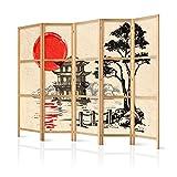 murando - Paravent XXL Japan Orient Zen 225x171 cm - 5-teilig - einseitig - eleganter Sichtschutz - Raumteiler - Trennwand - Raumtrenner - Holz - Design Motiv - Deko p-B-0026-z-c