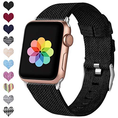 HUMENN Kompatibel mit Apple Watch Armband 38mm 40mm 42mm 44mm, Ersatzgewebe Band Nylon Sport Armband mit Rostfreier Metallschnalle für iWatch Serie 4 3 2 1, Schwarz 38mm/40mm -