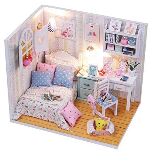 MagiDeal LED Miniatur Puppenhaus Puppenstube Puppenmöbel Puppenzimmer Holz DIY Kit mit Abdeckung und Lichter Spielzeug Dekoration - # C, wie beschrieben -