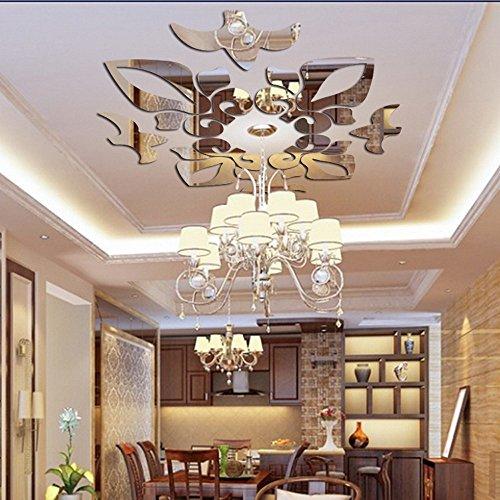 DOGZI Aufkleber Wandtattoos Küche Wandaufkleber Wandaufkleber Blumen - Kreative abstrakte Acryl Style 3D Wandaufkleber Spiegel Decken Wandspiegel -