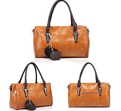 Herbst Und Winter Paragraph Mode Portable Schultertasche Messenger Bag Leder Handtaschen Brown