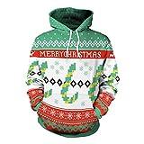 Soupliebe Frauen Weihnachten Drucken Langarm Hoodie Sweatshirt Pullover Top Tunika Bluse Kapuzen Sweatjacke Kapuzenpullover Hoodie