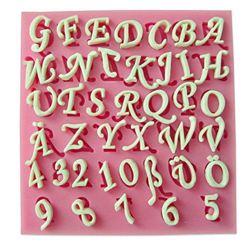 Karen Baking Buchstaben und Zahlen Silikon-verzierender Schokoladen-Kuchen-Form-Fondant-backendes Werkzeug-Rosa