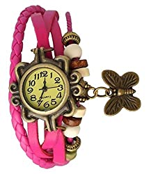 Butterfly analoue womens watch pink