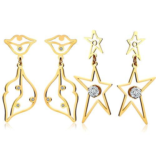 FANSING Schmuck Muttertag Geschenk für ihren Edelstahl Star Große Ohrringe Ohrstecker Set Pack Damen Mädchen - 2 Paare (Black Ohrringe Star)