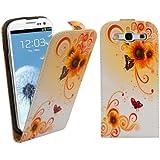 kwmobile Flip Case Hülle für Samsung Galaxy S3 / S3 Neo - Kunstleder Schutzhülle Sonnenblumen Swirl Design Tasche im Flip Cover Style in Orange Weiß