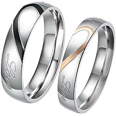 Idea Regalo - JewelryWe Gioielli anello da uomo donna acciaio inossidabile promessa