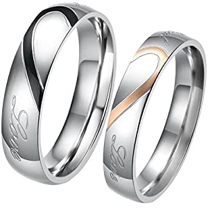 JewelryWe Schmuck 1 Paar Edelstahl Love Herz Partnerringe Freundschaftsringe Eheringe Trauringe Verlobung Ringe Band, Schwarz Gold Silber, mit Geschenk Tüte