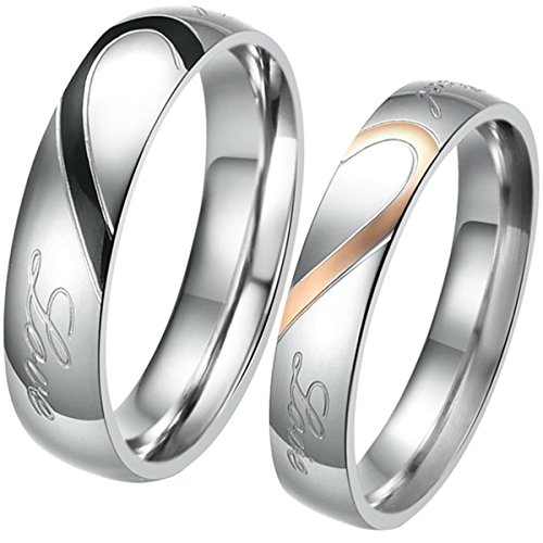 "JewelryWe Free Engraving Matching Mens & Womens Heart Shape Stainless Steel ""Real Love"" Promise Ring Set Couples Engagement Wedding Bands, 2pcs (with Gift Bag). Please Email Sizes"