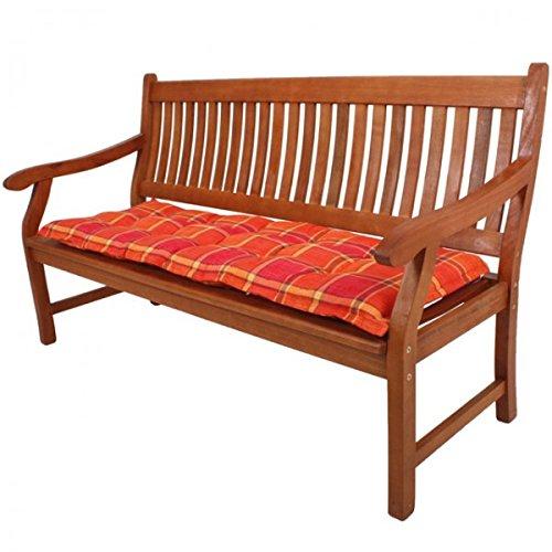 Bankauflage Bank Möbel Auflage orange grün kariert 130x45cm Sitzkissen Polster, Farbe:Orange