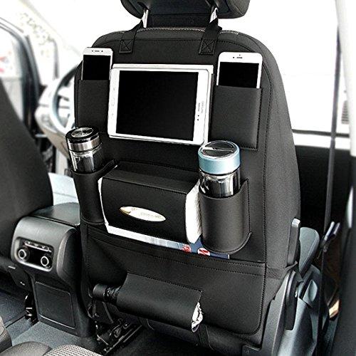 Preisvergleich Produktbild LCZ Rückenlehnenschutz,Autositze Organizer Hochwertigem PU Leder, Auto Rücksitz Organizer Kick-Matten-Schutz 7 abgetrennte Staufächer sorgen 60 X 42cm (schwarz)